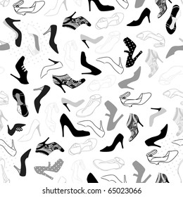 woman shoes seamless pattern, vector illustration background