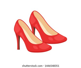 Woman shoes vector icons isolated on white background. Fashion footwear design.