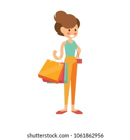 Woman is shopping with a lot of shopping bags