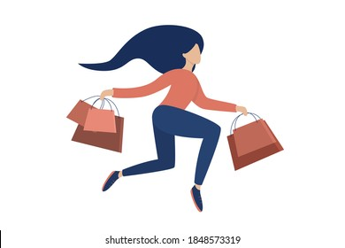 Woman with shopping bags. Concept Happy Woman or girl shopping. Flat Vector Illustration.