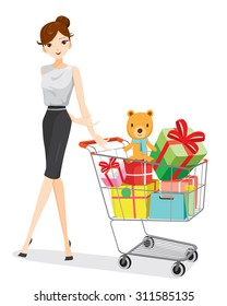 Woman and shopping cart full of gifts, goods, beauty, lifestyle