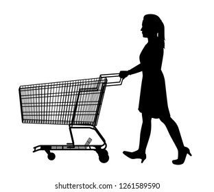 The woman with shopping cart silhouette vector