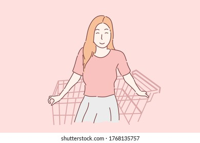Woman and shopping cart, shopping time concept, Hand drawing character vector.