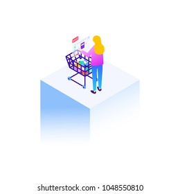 Woman with shopping cart. Woman at shopping with virtual augmented reality technology. Isometric illustration.