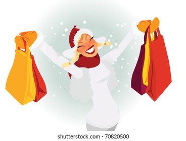 Woman shopping during winter vector