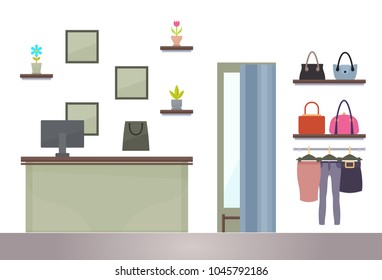 ?ounter in woman shopping store, computer on register table, shelves with decorations, fitting room and bags on racks, clothes hanging on hangers vector
