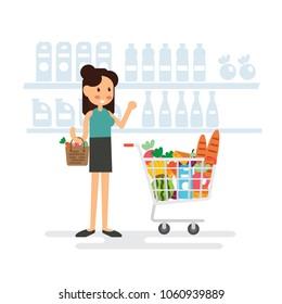 Woman shopping in supermarket - Flat Design