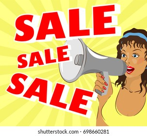 A woman is shouting about a sale