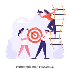 Woman Shouting in Loudspeaker Standing on Suspended Ladder, Businesspeople Team Holding Target with Arrow in Center, Business Goals Achievement, Aim, Business Strategy Cartoon Flat Vector Illustration