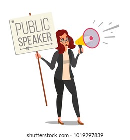 Woman Shouting Through Loud Speaker Vector. Leadership Female Speech. People On Strike. Demonstration Concept. Isolated Flat Cartoon Illustration