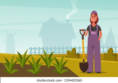 Woman with Shovel Standing Near Her Garden. Cartoon Style. Vector Illustration