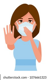 Woman showing gesture stop. Young woman with medicine health care mask against white room background. Cartoon flat vector illustration.