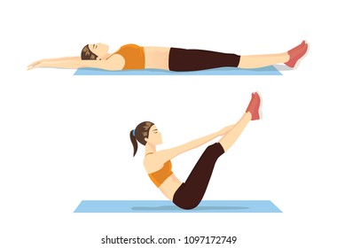 Woman showing step of abdominal workout with v-ups exercise. Illustration about correct moves for fitness.