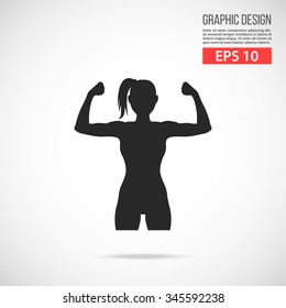 Woman shows her muscles logo. Power black pictogram. Modern flat design vector illustration, new concept for web banner, web site, infographics. Vector icon graphic art isolated on gradient background
