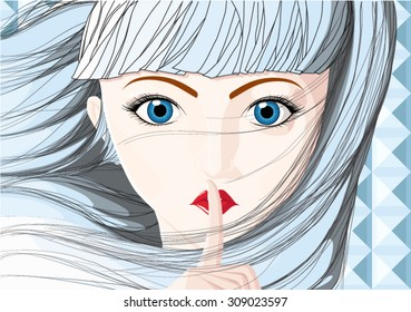 woman shush vector illustration