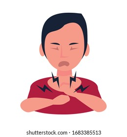 woman sick with sore throat character vector illustration design