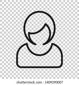 Woman sign icon in transparent style. Female avatar vector illustration on isolated background. Girl face business concept.
