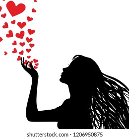 Woman silhouette hand. Pretty girl blowing heart. Drawing background. Vector illustration.