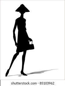 woman silhouette illustration with a bag