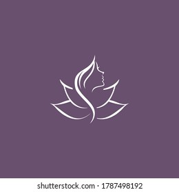 Woman silhouette in lotus flower icon vector template,eps 10