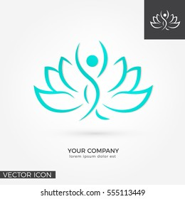 Woman silhouette in lotus flower , LOGO / ICON