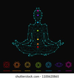 Woman silhouette sitting in lotus pose of yoga with seven chakra points Chakra set on black background