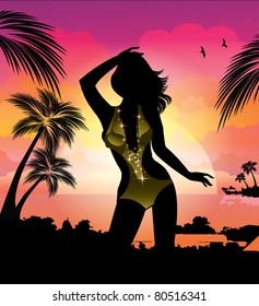 Woman silhouette at tropical sunset beach