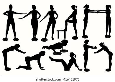 Woman silhouette. Waist twisting disc exercises