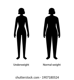 Woman silhouettes with anorexia and slim fit. Female persons with normal weight and underweight. BMI ranges concept. Weight loss problems. Adult people with different fat levels vector illustration.