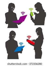 woman silhouettes with mobile device(smart phone, table pc, laptop) and wireless communication icon, vector illustration