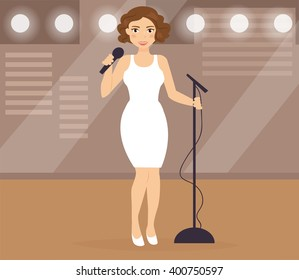 Woman sings on stage. Vector isolated illustration. Cartoon character.