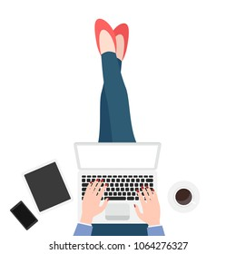 Woman sit on floor with laptop. Coffee, with tablet and mobile phone. Freelance work space
