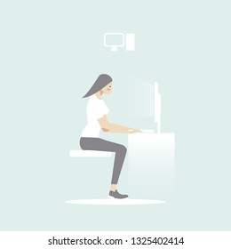 woman sitdown use computer vector icon