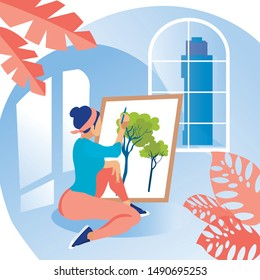 Woman Sits on Floor in Room. Draws Picture on Canvas. Coworking Center. Hobby Young People. Vector Illustration. Workflow in Office. Woman Learning Draw Trees. Room with Big Window Blue Interior.