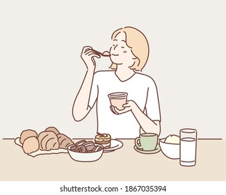 Woman sits at table overloaded with many desserts. Hand drawn style vector design illustrations.