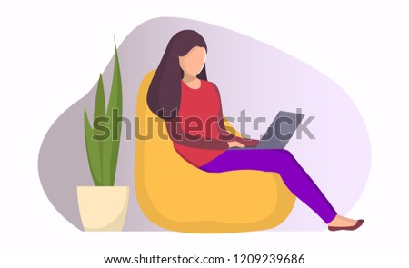 Woman Sitting Bag Chair Laptop Girl Stock Vector Royalty Free