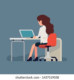 Woman sitting behind desk with laptop, back view, no face. Flat style vector concept illustration on working process featuring abstract female character