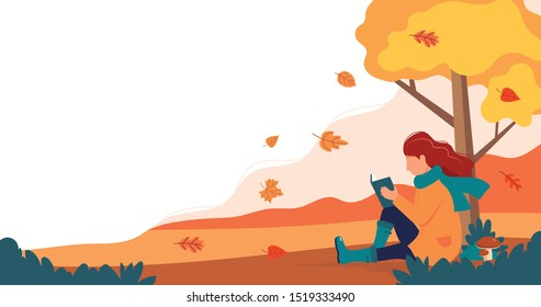 Woman sitting with book under the tree in autumn. Vector illustration in flat style