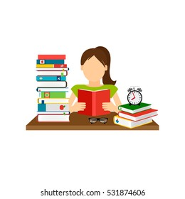 Woman sitting by the table and reading book, with stack of books next to her. Vector illustration.