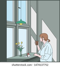 A woman is sitting by the window drinking coffee. hand drawn style vector design illustrations.