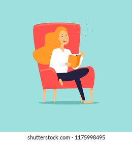 Woman sitting in a chair reading a book. Flat design vector illustration.