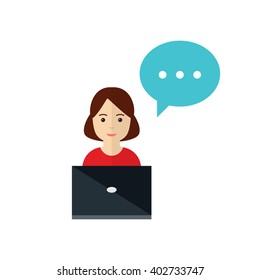 Woman sitting at a computer. Office manager at work concept. Manager woman icon in flat style, vector illustration.