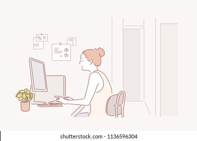 A woman sitting at a desk and looking at a monitor. hand drawn style vector design illustrations.