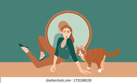 A woman is sitting in front of a mirror with a cat. Red cat at home. Reflection in the mirror. Good mood. To stay home. Friendship of pets and people. Vector in a flat style.