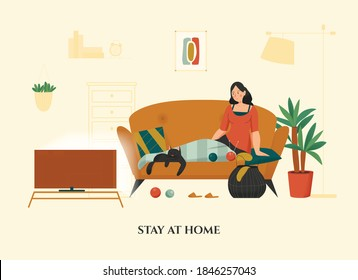 Woman sitting with her cat on sofa under warm lap blanket cozy home flat vector illustration