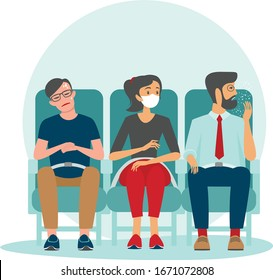 Woman sitting inside aircraft wearing protective medical mask. Danger of spreading infection in public place. 2019-ncov coronaviruspandemia. COVID-19 concept flat vector illustration.