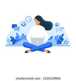 Woman sitting with laptop surrounded by plants and business icons. Flat style vector illustration isolated on white