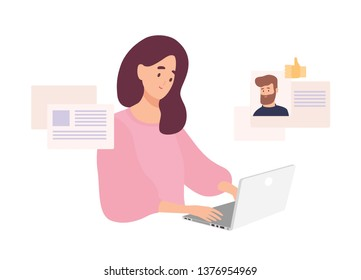 Woman sitting at laptop and using website for dating or searching for love or romantic partner on internet. Cute smiling girl trying to find boyfriend online. Flat cartoon vector illustration.