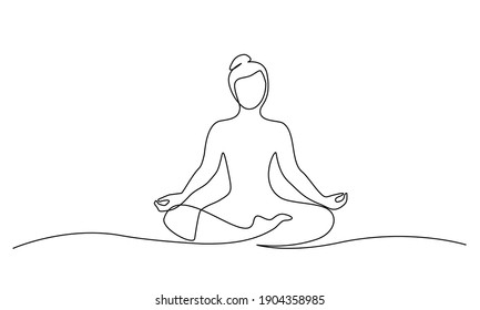 Woman sitting in lotus pose yoga. Continuous one line drawing. Vector illustration