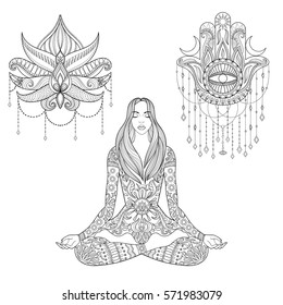 Woman sitting in lotus position, hamsa hand, flower tattoo design.  Vector ornate girl silhouette for adult coloring pages, meditation, yoga, gipsy soul, zentangle ethnic boho set